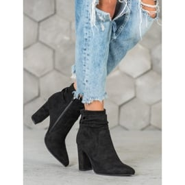Ideal Shoes Zamszowe Botki Na Słupku czarne 4