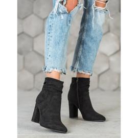 Ideal Shoes Zamszowe Botki Na Słupku czarne 5