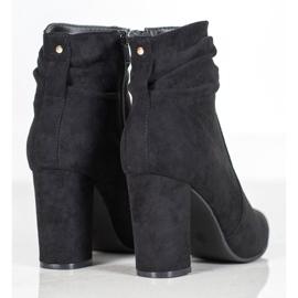 Ideal Shoes Zamszowe Botki Na Słupku czarne 3