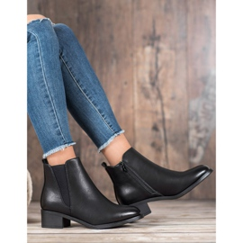 Ideal Shoes Klasyczne Botki Z Gumką czarne 4