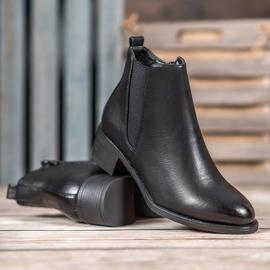Ideal Shoes Klasyczne Botki Z Gumką czarne 2