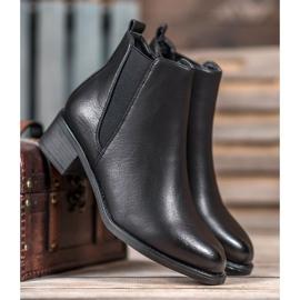 Ideal Shoes Klasyczne Botki Z Gumką czarne 3