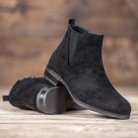 Ideal Shoes Wsuwane Botki czarne 2