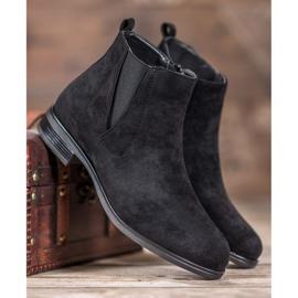 Ideal Shoes Wsuwane Botki czarne 3