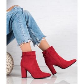 Ideal Shoes Zamszowe Botki Na Słupku czerwone 6