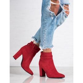 Ideal Shoes Zamszowe Botki Na Słupku czerwone 5