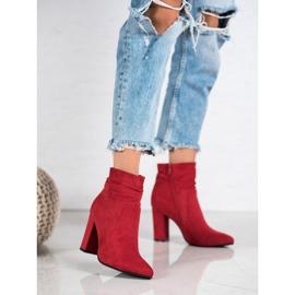 Ideal Shoes Zamszowe Botki Na Słupku czerwone 4