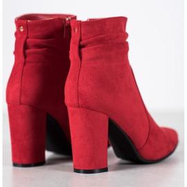 Ideal Shoes Zamszowe Botki Na Słupku czerwone 2