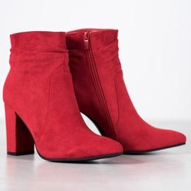 Ideal Shoes Zamszowe Botki Na Słupku czerwone 3
