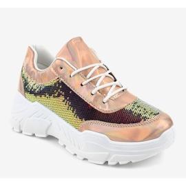 Szampańskie obuwie sportowe z cekinami W-3118 żółte 1