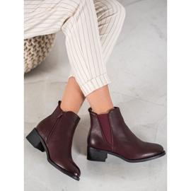 Ideal Shoes Klasyczne Botki Z Gumką czerwone 3