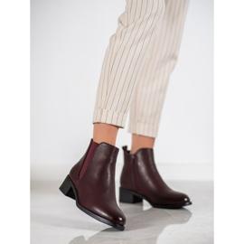 Ideal Shoes Klasyczne Botki Z Gumką czerwone 2