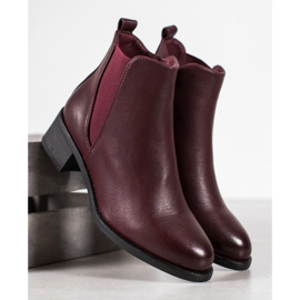 Ideal Shoes Klasyczne Botki Z Gumką czerwone 4