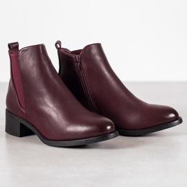 Ideal Shoes Klasyczne Botki Z Gumką czerwone 5