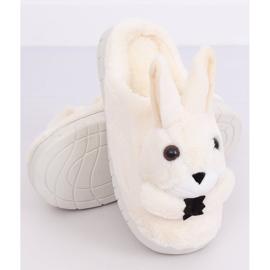 Kapcie damskie króliczki beżowe MA17 White beżowy 4
