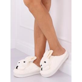 Kapcie damskie króliczki beżowe MA17 White beżowy 2