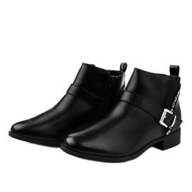 Czarne płaskie botki z gumką i suwakiem Y8159 2