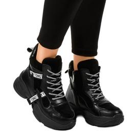 Czarne damskie sneakersy ocieplane F803-7 2