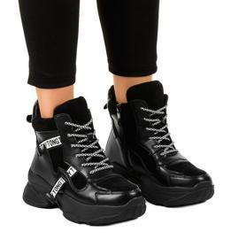 Czarne damskie sneakersy ocieplane F803-7 1