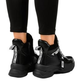 Czarne damskie sneakersy ocieplane F803-7 3