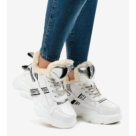 Białe damskie sneakersy ocieplane D80-31 2