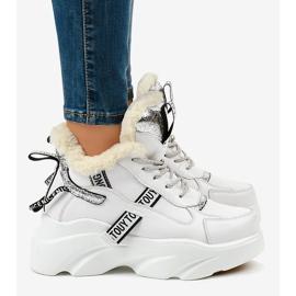 Białe damskie sneakersy ocieplane D80-31 3