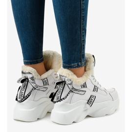 Białe damskie sneakersy ocieplane D80-31 4
