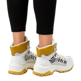 Białe damskie sneakersy ocieplane F-19208-2 2