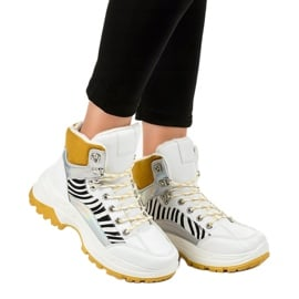 Białe damskie sneakersy ocieplane F-19208-2 3