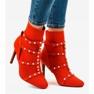 Czerwone botki na szpilce z tkaniny AT-0655-L 1