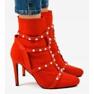 Czerwone botki na szpilce z tkaniny AT-0655-L 2