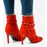 Czerwone botki na szpilce z tkaniny AT-0655-L 3