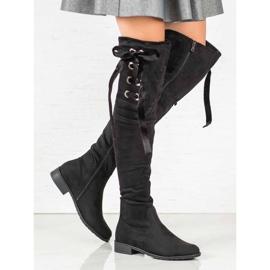 Ideal Shoes Muszkieterki Ze Wstążką czarne 3