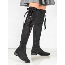 Ideal Shoes Muszkieterki Ze Wstążką czarne 1