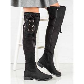 Ideal Shoes Muszkieterki Ze Wstążką czarne 4