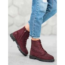 Sweet Shoes Bordowe Zamszowe Botki czerwone 1