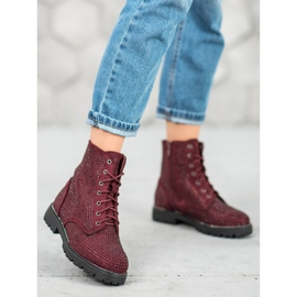 Sweet Shoes Bordowe Zamszowe Botki czerwone 6