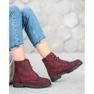 Sweet Shoes Bordowe Zamszowe Botki czerwone 5