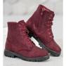 Sweet Shoes Bordowe Zamszowe Botki czerwone 2