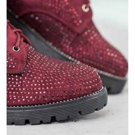 Sweet Shoes Bordowe Zamszowe Botki czerwone 3