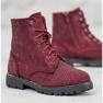 Sweet Shoes Bordowe Zamszowe Botki czerwone 4