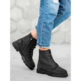 Sweet Shoes Czarne Zamszowe Botki 4