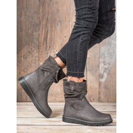 Ideal Shoes Workery Na Platformie szare 6