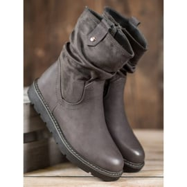Ideal Shoes Workery Na Platformie szare 2