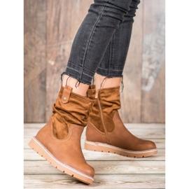 Ideal Shoes Workery Na Platformie brązowe 1