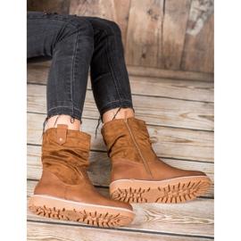 Ideal Shoes Workery Na Platformie brązowe 4