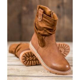 Ideal Shoes Workery Na Platformie brązowe 2