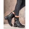Lucky Shoes Workery Z Klamrami czarne 7