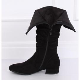 Kozaki damskie zamszowe czarne 3005 Black 3