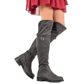 Ideal Shoes Eleganckie Muszkieterki Z Klamrą szare 2